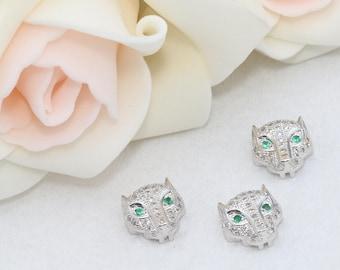 Silver Micro Pave Leopard Beads, Cat Beads, Cubic Zirconia Leopard , Leopard Head Bads, Bracelet Connectors , Cz Pave Leopard, SKU/ZRC126