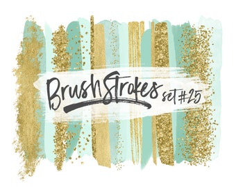 Mint and Gold Brush Strokes / Mint Brush Strokes / Mint Green Brushstrokes / Gold Glitter Brushstrokes / Wedding Clipart for Logos