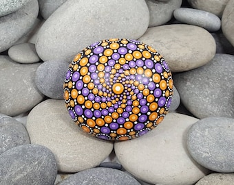 Mandala Stone - Painted Rock - Orange & Purple Mandala Art - Sacred Geometry - Pebble - Mandala Art - Paint Stone - Unique - Paperweight