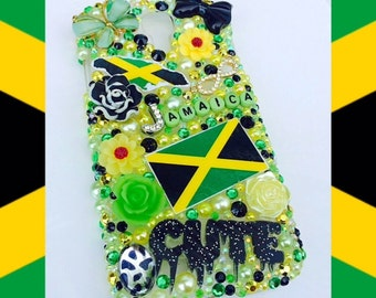 Beautifully hand designed Jamaican themed phone case for the Samsung Galaxy S4