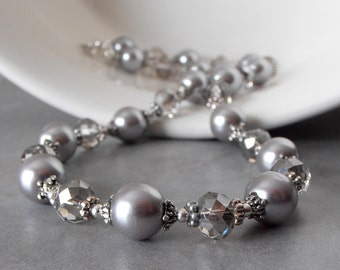 Light Gray Pearl Necklace - Pearl and Crystal Bridesmaid Jewelry Set - Grey Wedding Jewelry - Beaded Necklace - Bridesmaid Gift