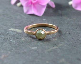 Rose Cut Natural Green Diamond Stacking Ring // 14k Rose Gold Jewelry // Diamond Ring // Alternative Engagement Ring // Village Silversmith