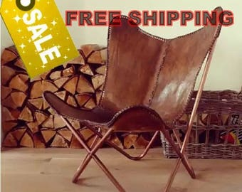 Hand made Butterfly chair , leather chair -rich brown