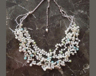 Bridal necklace with different color pearls & size Gifts for her Wedding necklace. Dainty statement bridal jewelry white blue pink grey