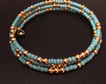 Turquoise & Gold ~ Triple strand memory wire bracelet