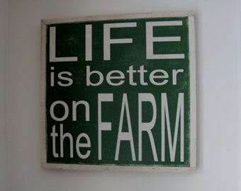 "Life is Better on the Farm Wood Sign Farming Wooden Sign Large Hand Painted Word Art 19""x19"""