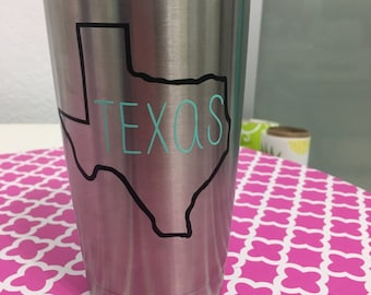 "Texas (or your state) State outline with ""Texas"" vinyl decal"