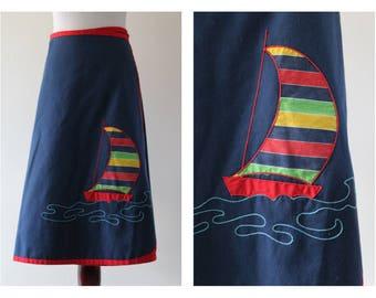 Vintage 70s Blue Sailboat Wrap Skirt