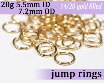 20g 5.5mm ID 7.2mm OD gold filled jump rings -- 20g5.5 goldfill jumprings 14k goldfilled