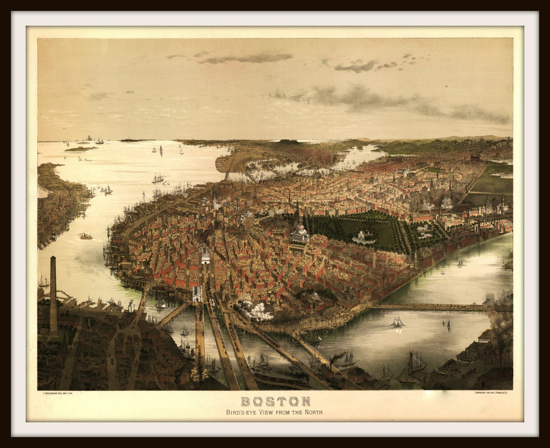 Boston Birds Eye View late 1800s. North End East Boston
