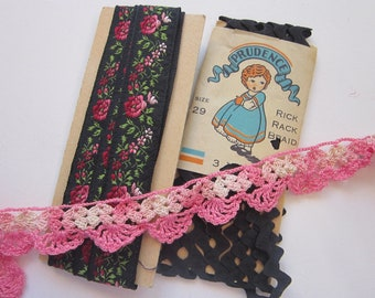 vintage trims - black rick rack, embroidered floral ribbon, handmade pink crochet lace