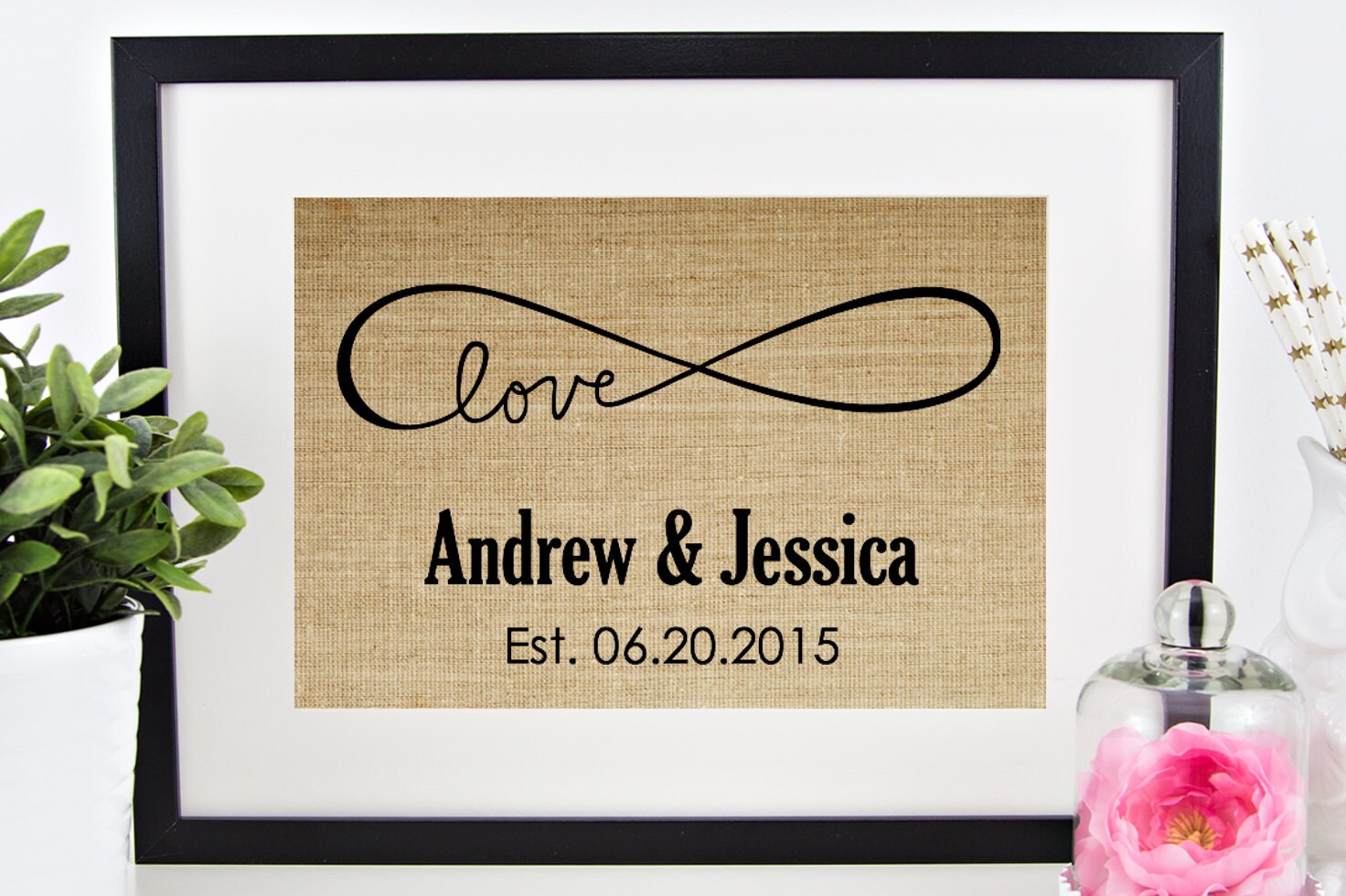 Wedding Engagement Gift: Love Infinity Sign Burlap Print Personalized Wedding Gift