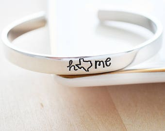 Personalized Cuff Bracelet - Texas Jewelry - Personalized Gift for Her - Texas State - Hand Stamped Cuff Bracelet - Texas Home State Jewelry