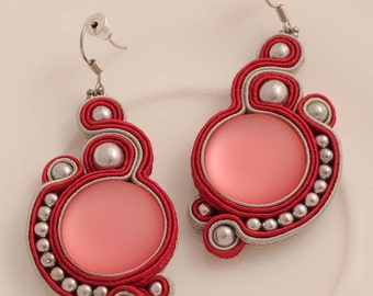 Purple soutache earring, soutache jewelry, handmade earring, red earring, silvery earring