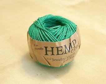 SALE Hemp Cord Green Polished 1mm 82 Feet 20 Pound Test