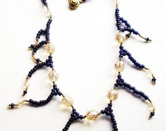 Handmade Woven Necklace in Navy Blue Seed Beads and Golden Champagne Glass