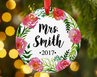 Personalized Christmas ornament, Wedding ornament, Friend gift, Teacher ornament, Personalized Christmas ornament