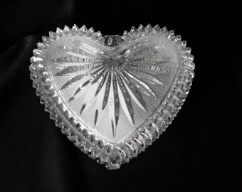 Glass heart shaped trinket dish with a lid