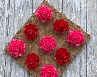 Flower ThumbTack Set  Floral Magnets  Decorative Rose Push Pin Gift Set  Pretty Rose Magnets for Office Decor  Cork Board Thumb tacks