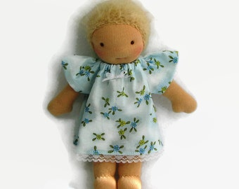 8 inch Waldorf Doll Dress, 9 in Blue Floral Doll Dress, 8 in baby doll clothing
