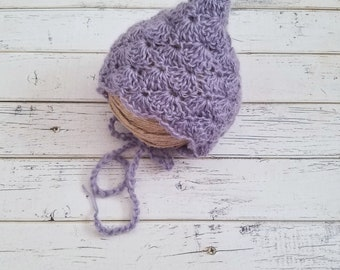 Pixie Bonnet Girl, Newborn Baby Bonnets, Pixie Bonnets, Crochet Baby Bonnet, Mohair Bonnet, Crochet Baby Girl, Pixie Bonnet Hat, MADE2ORDER