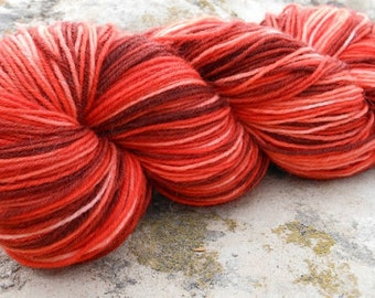 Hand Dyed Superwash Sock Weight Yarn--Fiery Colorway