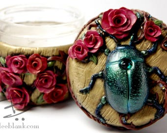 Beetle and Roses Stash Jar - ready to ship  - air tight, water proof - 4 oz.