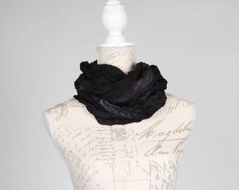 Black wrinkled infinity scarf / Trendy infinity scarf  / Black infinity silk scarf / black circle scarf/ black circle scarf