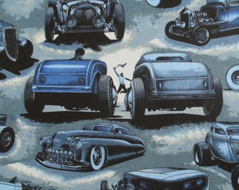 Fabric, Shadow Rods in Blue, Roadster, Classic Cars, Large Scale Print, Alexander Henry, By the Yard