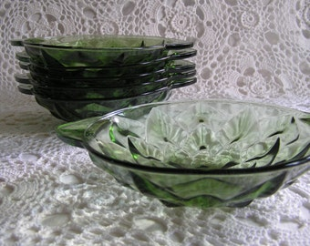 Set of 6 Vintage Green Glass Berry Dessert or Salad Bowls, 1970s Geometric Pressed Glass