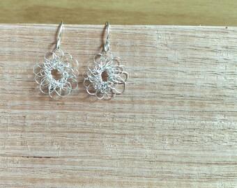 Sterling silver earrings. Crocheted wire earrings. Recycled sterling silver. Unique earrings. Sustainable earrings. Boho earrings