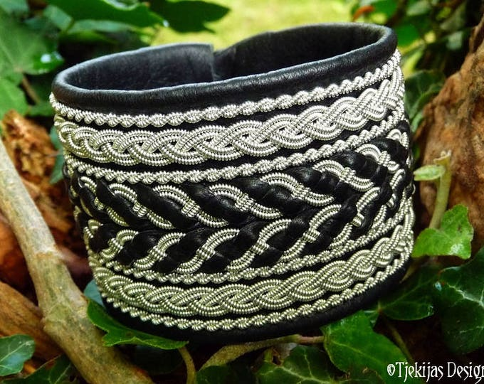 Viking Leather Cuff Bracelet HULDRA Tennarmband Black Wide Handmade Sami Bracelet Cuff with Pewter Braids