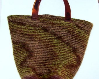 Colors of the Earth Hand Knitted and Felted Bucket Bag