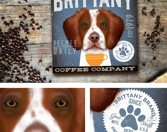 Brittany Spaniel dog Coffee Company advertising style artwork on gallery wrapped canvas design by stephen fowler