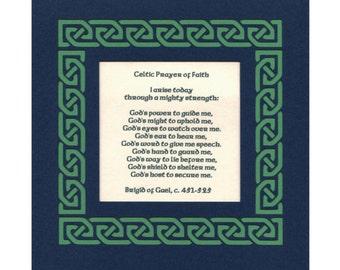 Irish Celtic Prayer of Faith - Brigid of Gael Paper Cut Celtic Knot border 8X8 unframed