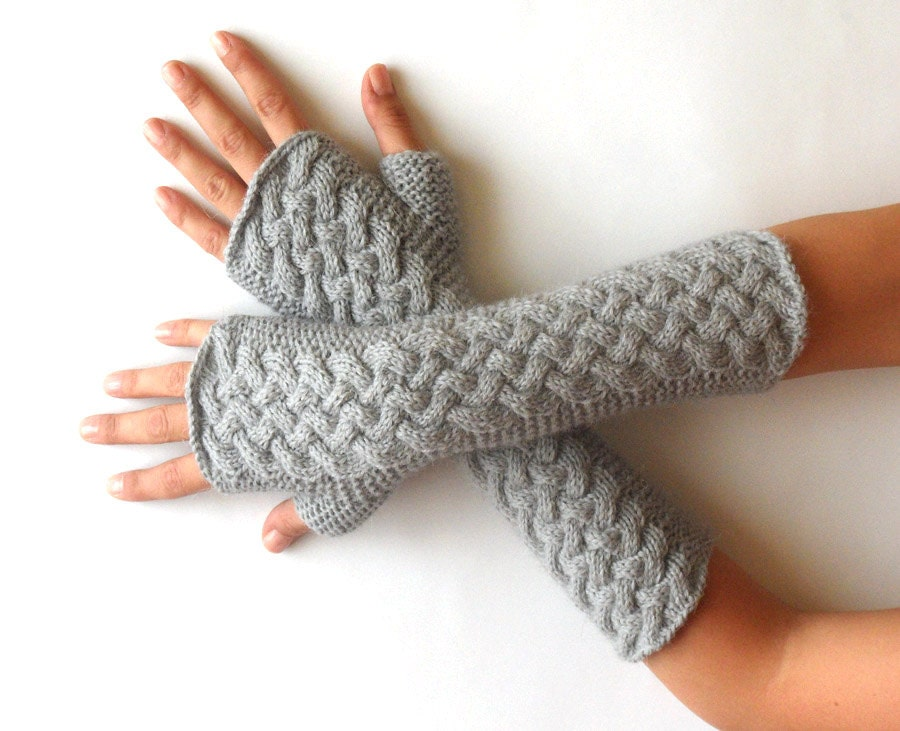 KNITTING PATTERN - Cable Fingerless Gloves Knit Pattern Arm Warmers ...