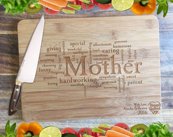 A Mother's Attributes - Personalised Engraved Bamboo Chopping Board