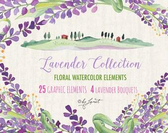 Lavender Collection - Floral Watercolor Elements - PNG file