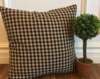 Black & brown gingham pillow cover, farmhouse pillow, country pillow
