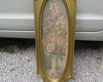 Vtg 1964 Ornate Mat Gold Victorian Style Cecil Rubino Signed Floral Daisies Roses Flowers Bouquet Syroco Wall Plaque, Hollywood Regency