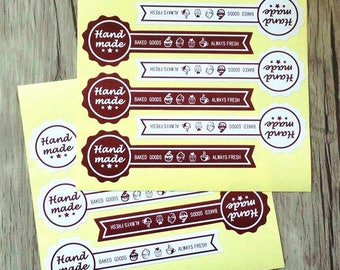 50 High Quality Handmade Baked Goods Stickers. Always Fresh stickers. Bakery Stickers.