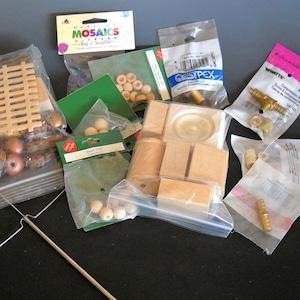 CRAFTERS!!! Lot of Miscellaneous Crafting Materials Wood Shapes, Brass Couplings Interesting Wood Pieces