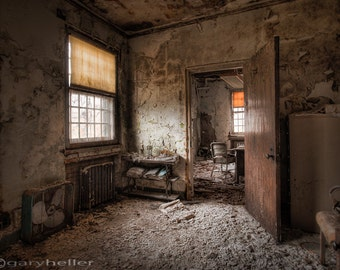 What Once Was, Old Room, Abandoned Asylum, HDR Photograph, Decay, Urban Exploration, Free Shipping, Fine Art Photography Print