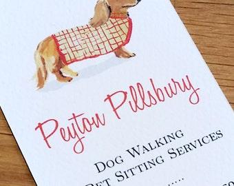 Dog walker card etsy dachshund dog walker dog sitting business cards set of 50 colourmoves