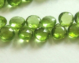 PERIDOT Heart Briolettes, Faceted Brios, 6 Pcs, MATCHED PAIRS,  August Birthstone,  Brides, Wholesale Beads, 6-7mm,