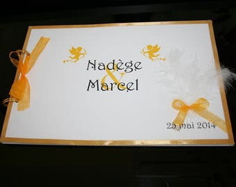 Gold guest book and white feather paradise 20 pages