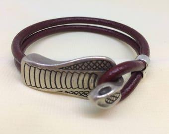 Burgundy Snake Design Bracelet Maroon Deep Red Euro Leather Bracelet Metal Nickel Free Cobra Clasp In Antique Silver Metal Color Women