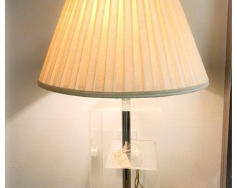 Mid Century Modern Lucite and Chrome Table Lamp with Lampshade
