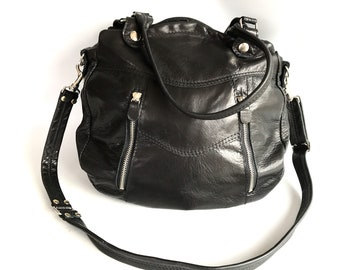 SALE - Larch leather in black/silver -adjustable strap