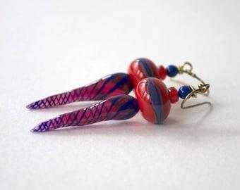 Lampwork Glass Bead Earrings, Red Blue Earrings, Glass Bead Earrings, Long Earrings, Spiral Earrings, Elongated Teardrop Earrings